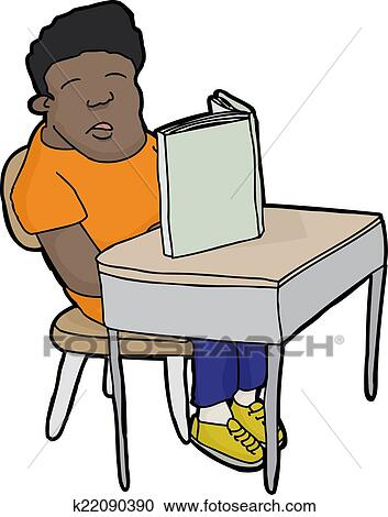 Clipart Of Sleeping Student At Desk K22090390 Search