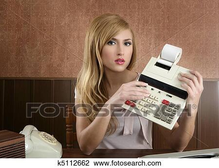 banque de photo comptable retro secr 233 taire vendange calculatrice k5112662 recherchez des