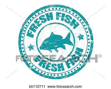 Clipart of fresh fish stamp k5112711 search clip art for Fish symboled stamp