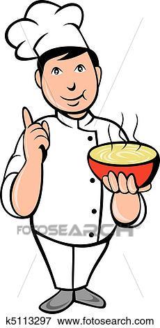 Stock Illustration - karikatur, küchenchef, koch, schüssel suppe ...   {Koch bei der arbeit clipart 60}