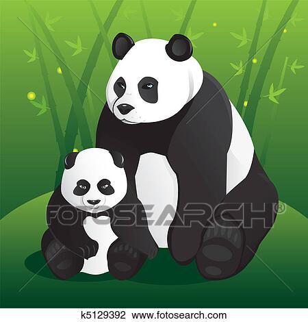Clipart of Panda famil...