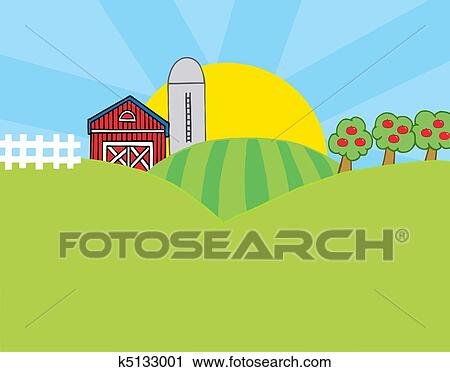 Clipart of Country Farm Scene k5133001 - Search Clip Art ...