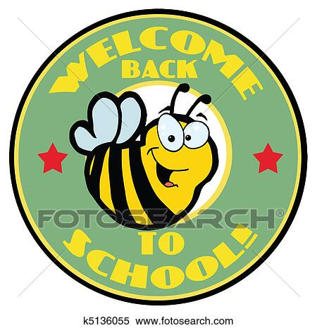 clipart of green welcome back to school bee k5136055 search clip rh fotosearch com welcome back clip art to work welcome back clipart free