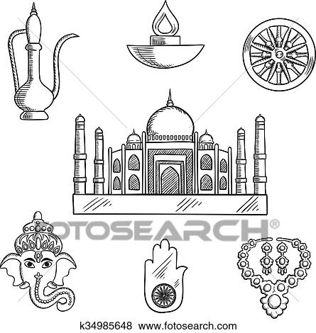Clip Art Of Indian Religion And Culture Symbols K34985648 Search