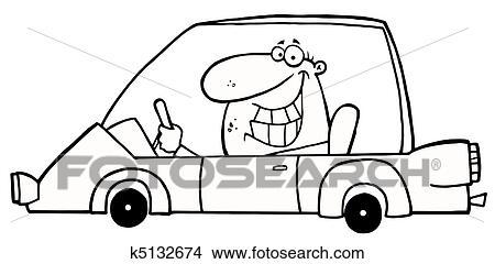 概述, grinning, 人驾驶, a, 汽车, 卡通漫画, 性格