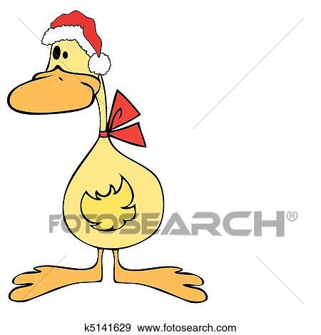 剪贴画 鸭子, 带, 圣诞老人, hat.