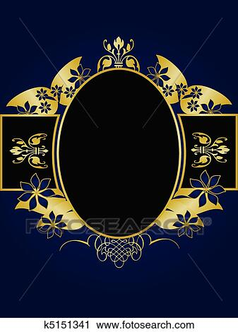 clipart of a gold floral design with room for text on a