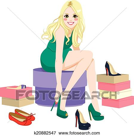 clip art of blonde girl trying shoes k20882547 search clipart rh fotosearch com blonde haired girl clipart Girl Clip Art