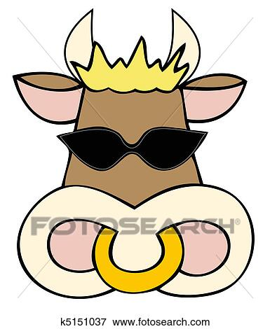 clip art of dairy cow face with sunglasses k5151037 search rh fotosearch com dairy clipart black and white diary clipart