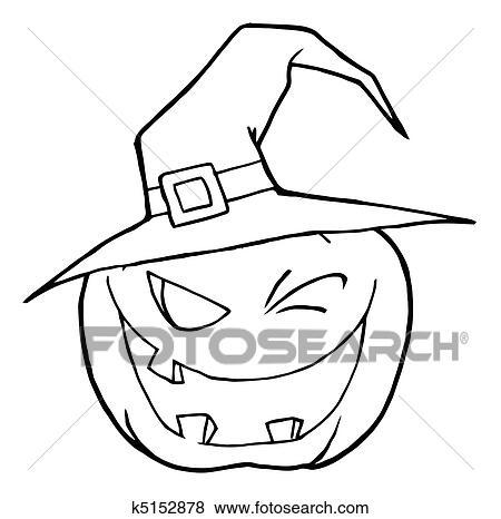Clip Art of Halloween Pumpkin k5152878 - Search Clipart ...