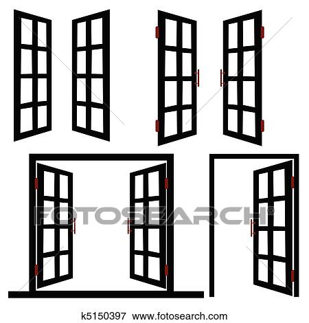Fenster clipart schwarz weiß  Clip Art - fenster, und, tuer, schwarz, abbildung k5150397 - Suche ...