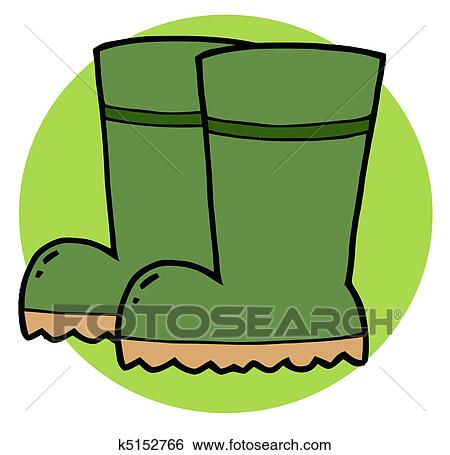 Clip Art - Green Gardeners Rubber Boots . Fotosearch - Search Clipart,  Illustration Posters,