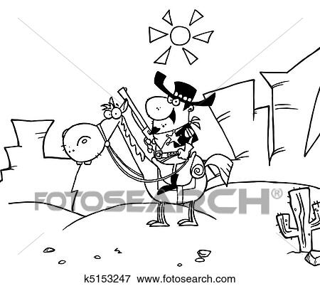 Clip Art Of Outlined Western Sheriff K5153247