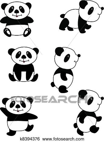 clip art of panda k8394376 search clipart illustration