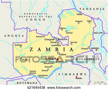 Clip Art of Zambia Political Map k21645438 Search Clipart