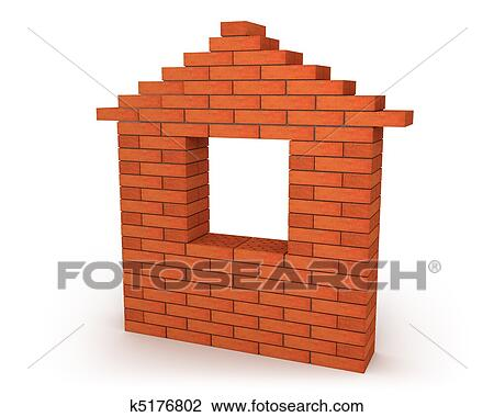 Clip Art Of Abstract House Made From Orange Bricks K5176802