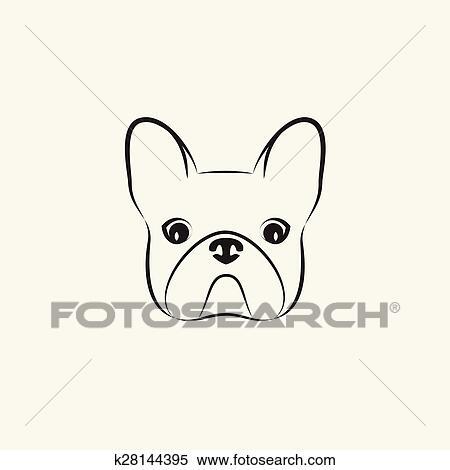 Clipart stylis t te a chien sur lumi re fond - Dessin tete de chien ...