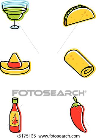 Clipart of Mexican Food Icons k5175135 - Search Clip Art ...