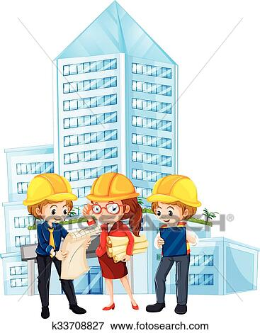 Clip art of engineers looking at the blueprint of the building clip art engineers looking at the blueprint of the building fotosearch search clipart malvernweather Image collections