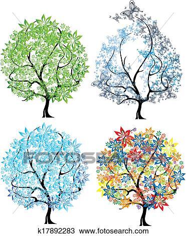 Dessin vecteur quatre saisons arbre k17892283 recherchez des cliparts des - Dessin 4 saisons ...