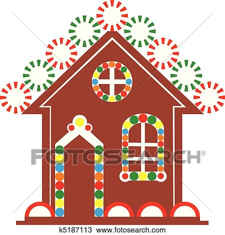 Clipart gingerbread house color fotosearch search clip art