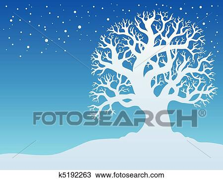 Clipart winter tree with snow 2 fotosearch search clip art