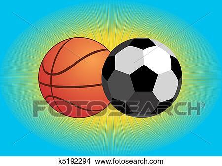 手绘图 - 足球, 同时,, 篮球图片