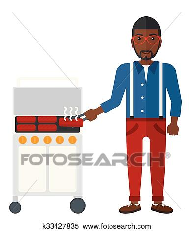 clipart of man preparing barbecue k33427835 search clip art rh fotosearch com barbeque clip art borders barbecue clipart images