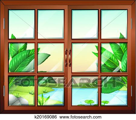 Clip Art of A closed window with a view of the pond k20169086