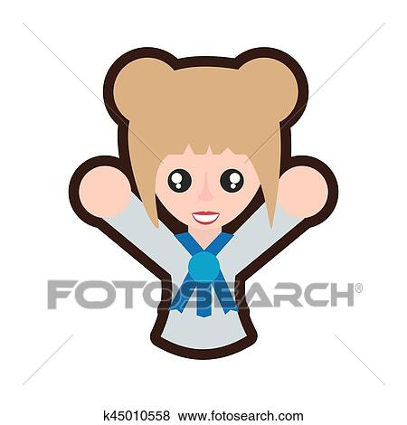 clip art of cartoon japanese girl student uniform k45010558 search rh fotosearch com girl student clipart girl student thinking clipart