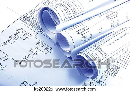 Stock image of engineering electricity blueprint rolls k5208225 stock image engineering electricity blueprint rolls fotosearch search stock photos mural pictures malvernweather Gallery