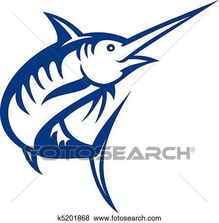 stock illustration of illustration of a blue marlin fish jumping rh fotosearch com Tuna Fish Clip Art Fish Skeleton Clip Art