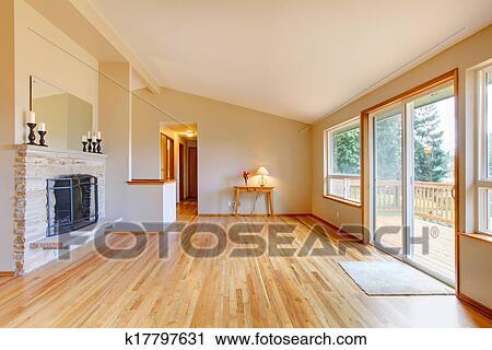 Caminetto Soggiorno decorazione : Archivio fotografico - vuoto, soggiorno, con, uno, caminetto, e, vetro ...