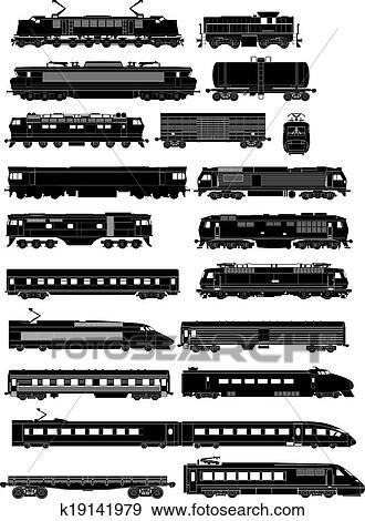 Clip Art of train side silhouettes k19141979 - Search ...