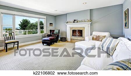 Caminetto Soggiorno decorazione : Leggero blu, soggiorno, con, sof? bianco, poltrona, e, sedia cuoio, e ...
