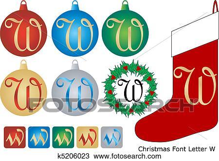 clipart weihnachten schriftart brief w k5206023. Black Bedroom Furniture Sets. Home Design Ideas