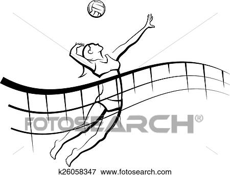 clip art of beach volleyball with flowing net k26058347 search rh fotosearch com volleyball net clipart black and white volleyball net clipart black and white