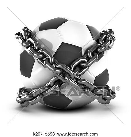 手绘图 - 3d, 用链子拴住, 足球图片