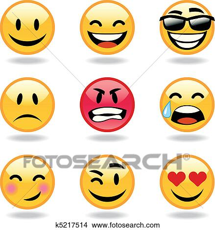 Clipart of Set of nine smileys k5217514 - Search Clip Art ...