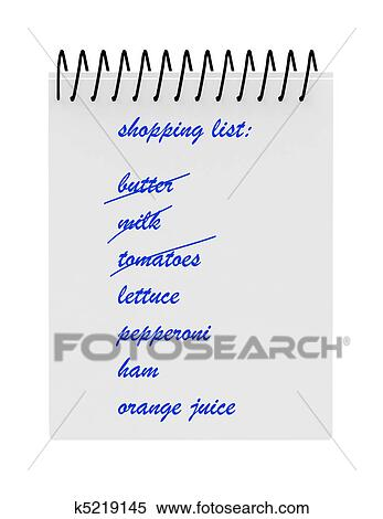 Stock Illustration of Shopping List Notebook k5219145 - Search ...