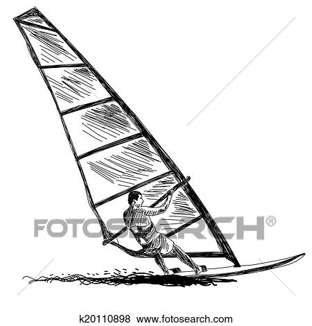 Clip Art Of Windsurfing Sketch K20110898