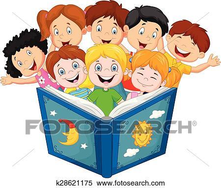 剪贴画 - 卡通漫画, 很少, 孩子, 读书