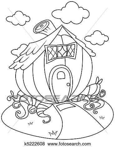 Haus strichzeichnung  Stock Illustration - strichzeichnung, kürbis, haus k5222608 ...