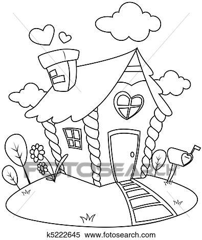 Haus strichzeichnung  Stock Illustration - strichzeichnung, kleines haus k5222645 ...