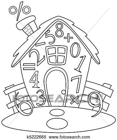 Haus strichzeichnung  Stock Illustration - strichzeichnung, mathe, haus k5222665 - Suche ...