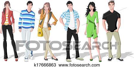 clipart mode karikatur junge leute k17666863 suche. Black Bedroom Furniture Sets. Home Design Ideas