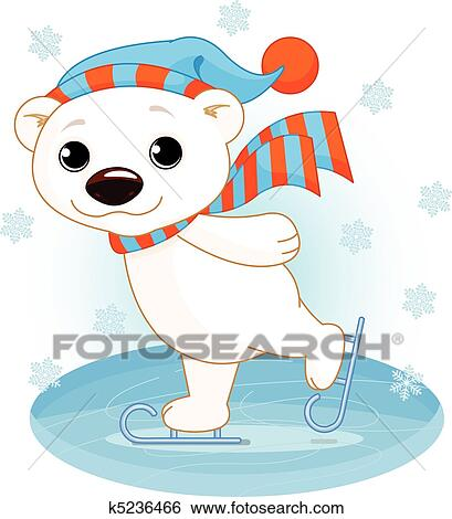 Clip Art of Polar bear on ice skates k5236466 - Search ...