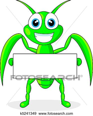 clip art of cute praying mantis holding a blank k5241349 search rh fotosearch com free praying mantis clipart praying mantis clipart black and white