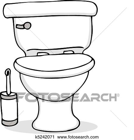 Clipart Of Toilet And Cleaning Brush K5242071