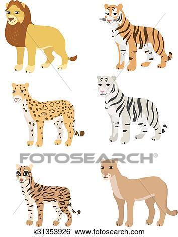 Clipart dessin anim ensemble lion tigre l opard tigre blanc puma ocelot k31353926 - Image leopard a imprimer ...